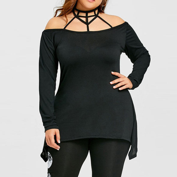 Fashion Long Sleeve Solid Color Round Neck Plus Size Tops