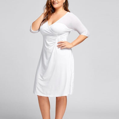 Casual 3/4 sleeve Solid Color V neck Plus size casual Dresses