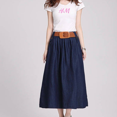 Solid Color Midi Bandage High Waist Blue Free Size Denim Skirts