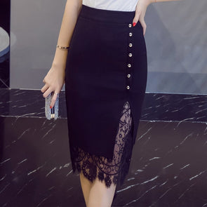 Fashion Knee length Patchwork Split Bead Lace Skirts