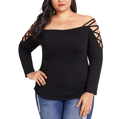 Casual Long sleeve Solid Color Off shoulder Plus size Tops