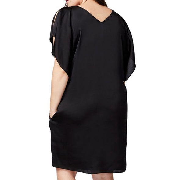 Short Sleeve Solid Color V-neck Plus Size Casual Dresses