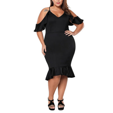 Fashion Short Sleeve Cold Shoulder Solid Color Plus Size Casual Dresses