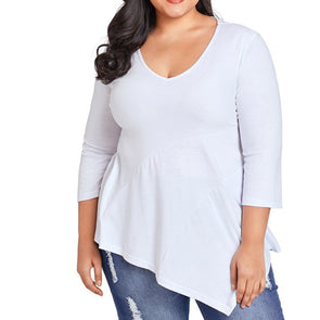 Fashion 3/4 Sleeve Solid Color Round Neck Plus Size Tops