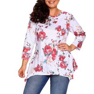 Fashion Long Sleeve Print Round Neck Plus Size Tops