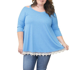 Casual 3/4 sleeve Solid Color Pachwork Plus size Tops