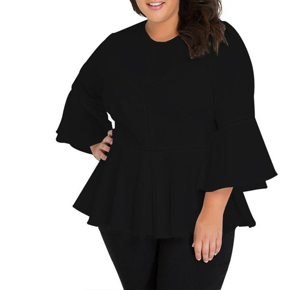 Casual 3/4 sleeve Bell-sleeve Solid Color Plus size Tops