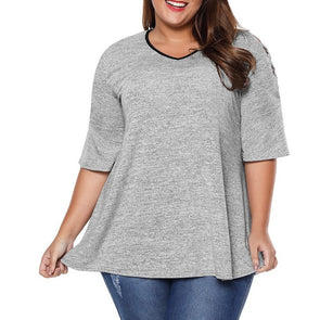 Casual Long sleeve Solid Color Round neck Plus size Tops