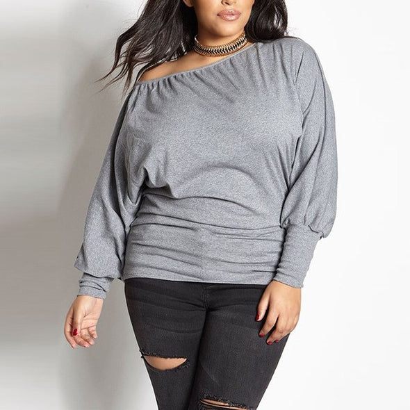 Casual Long sleeve Puff sleeve Solid Color Off shoulder Plus size Tops