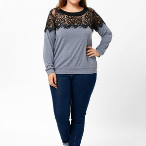 Fashion Long Sleeve Hit Color Round Neck Plus Size Tops