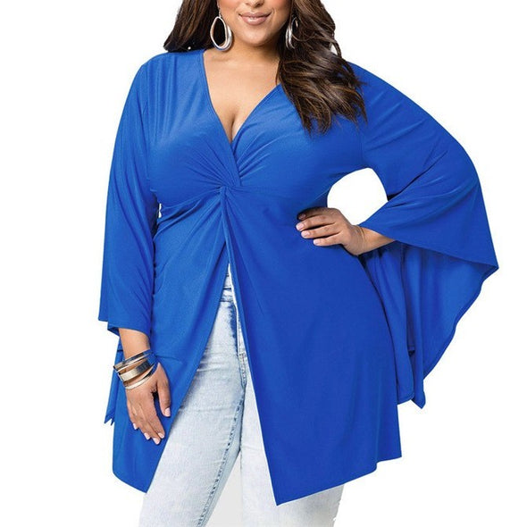 Casual Long sleeve Bell-sleeve Solid Color Plus size Tops