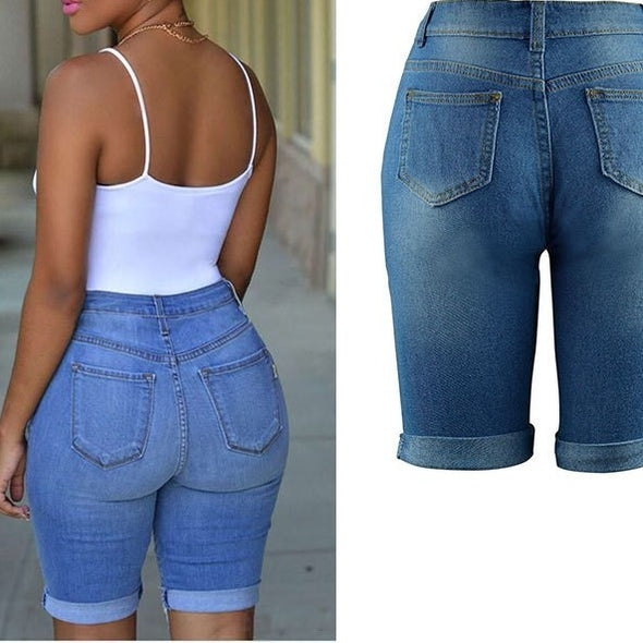Fashion Solid Color Ripped High waist Shorts