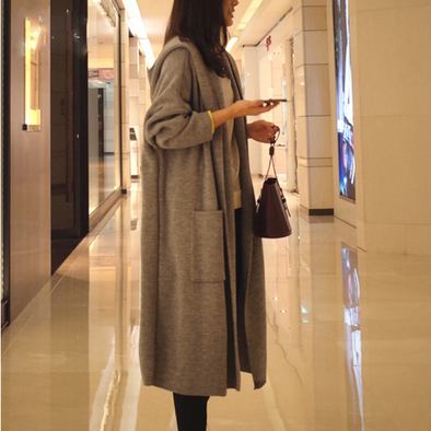 Casual Long Sleeve Hooded Long Coat
