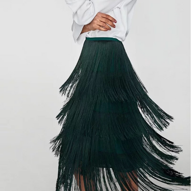 Chic Fringe tassel High Waist Skirts
