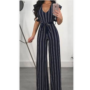 Trendy Striped Bandage Jumpsuits