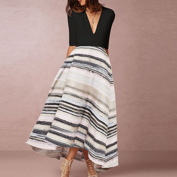Patchwork Print V Neck Maxi Dresses