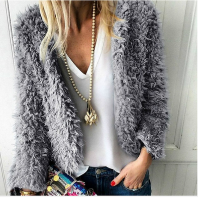 Fashion Sexy Casual Long-sleeved Fluff Short Coat Outwear
