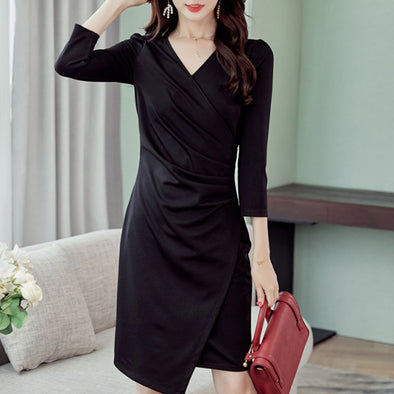 Fashion V Neck 3/4 Sleeve Solid Color Irregular Bodycon Dress