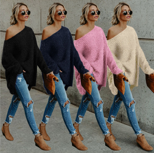 Fuzzy Bevel Shoulder Long Sleeve Sweaters