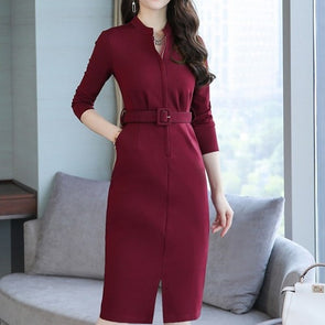 Elegant Belt Split Long Sleeve Bodycon Dress