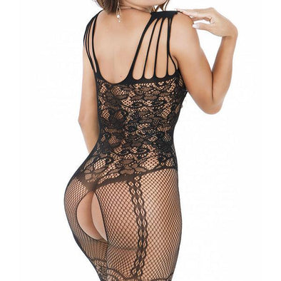 d0b6313e4ba Sexy Open Crotch Hollow Out Transparent Mesh Floral Jacquard Lace  Bodystocking
