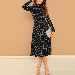 Check Long Sleeve Skater Dresses