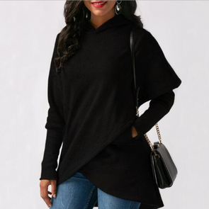 Hooded Asymmetric Hem Patch Pocket Plain Hoodie