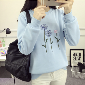 Round Neck Embroidery Long Sleeve Sweatshirts