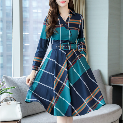 Fold Over Collar Patch Pocket Checkered Skater Dress