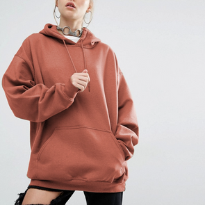 Hooded Loose Fitting Plain Batwing Sleeve Hoodie
