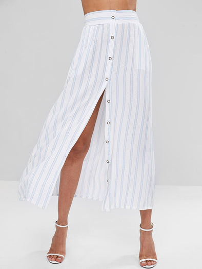 New fashion stripe button skirt