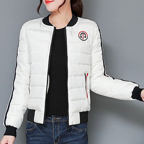 High Neck Zips Contrast Piping Plain Long Sleeve Coat