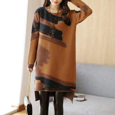Crew Neck Asymmetric Stripe Shift Dress