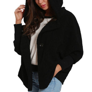 Pure Color Bat Sleeve Hooded Loose Coat
