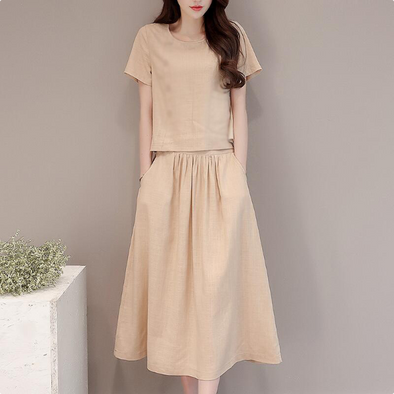 Round Neck Elastic Waist Patch Pocket Plain Maxi Dress