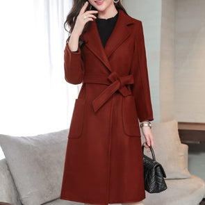 Slim Lapel Bandage Woolen Coat