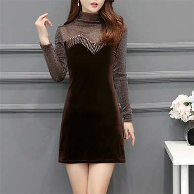 Velvet High Neck Plain Bodycon Dress
