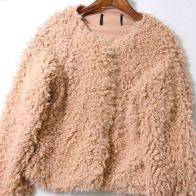 Fashion Pure Color Round Neck Warm Cardigan