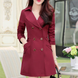 Lapel Solid Double Breasted Pocket Coat