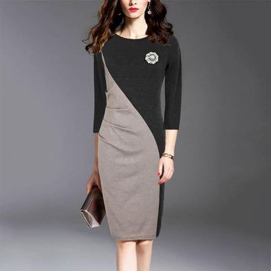 Fashion Round Collar Split Joint Bodycon Dress