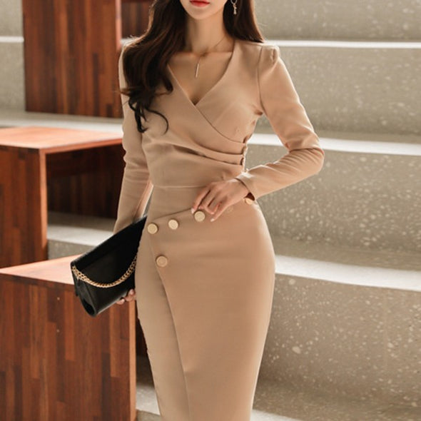Fashion V Neck Long Sleeve Irregular Bodycon Dress