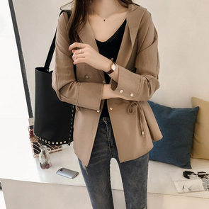 Hooded Asymmetric Hem Plain Trench Coat