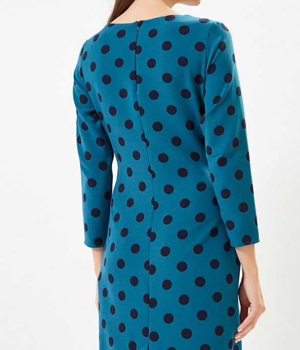 Dots Long Sleeve Round Neck Maxi Dresses
