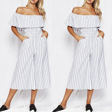 Classic Striped Round Collar Off Shoulder Jumpsuit