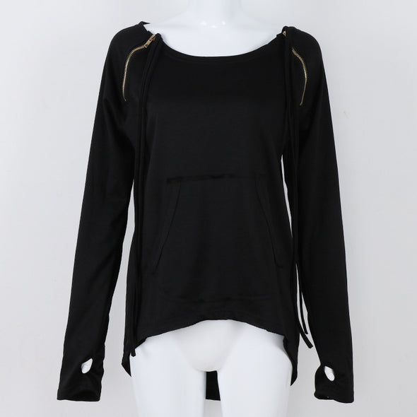 Drawstring Pure Color Long Sleeve Sweatshirt