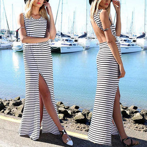 Striped Open Back Slit Long Dress