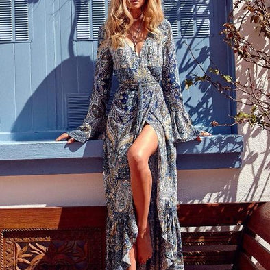 Split Bell Sleeve V Neck Long Bohemian Dresses