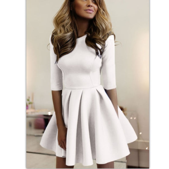 Round Neck 3/4 Sleeve High Waist Skater Dresses
