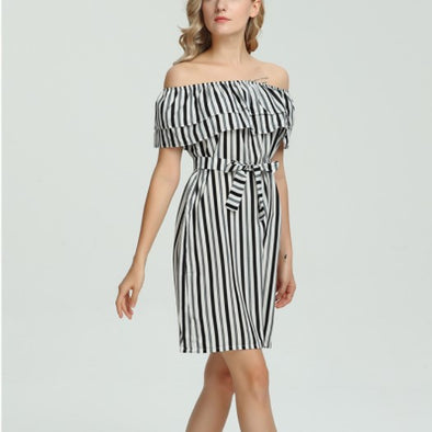 Bandage Off Shoulder Striped Vacation Dresses