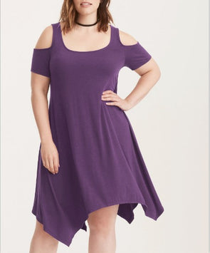 Off Shoulder Solid Color Plus Size Casual Dresses